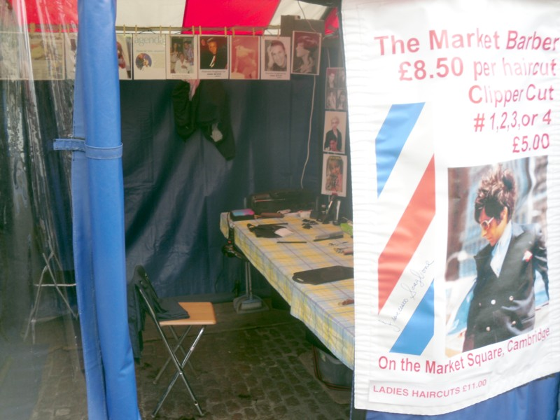 Barber stall, Cambridge Market