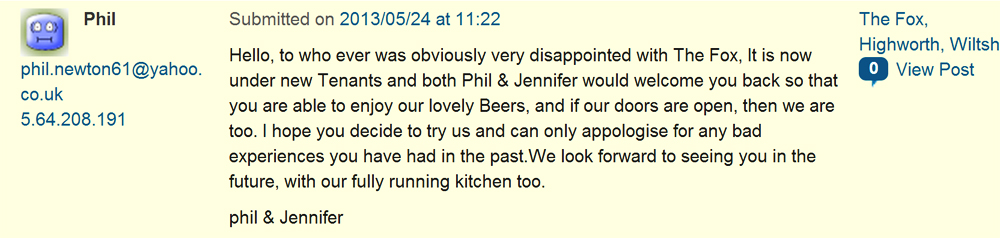 new landlord's comment