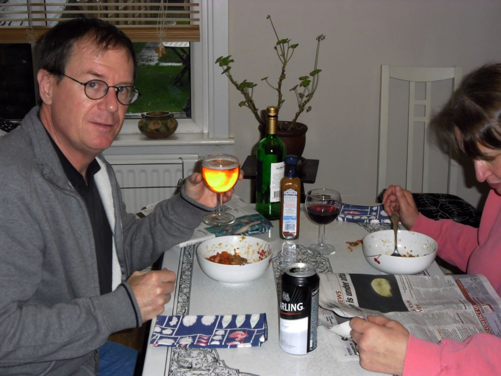 Carling #144 for me, enjoyed with some leftover cassoulet and the woman--on our 27th Anniversary