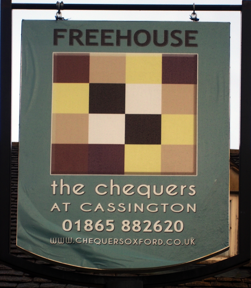 chequers cassington sign