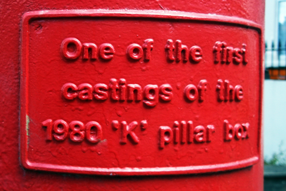 1980 K pillar letter box marking
