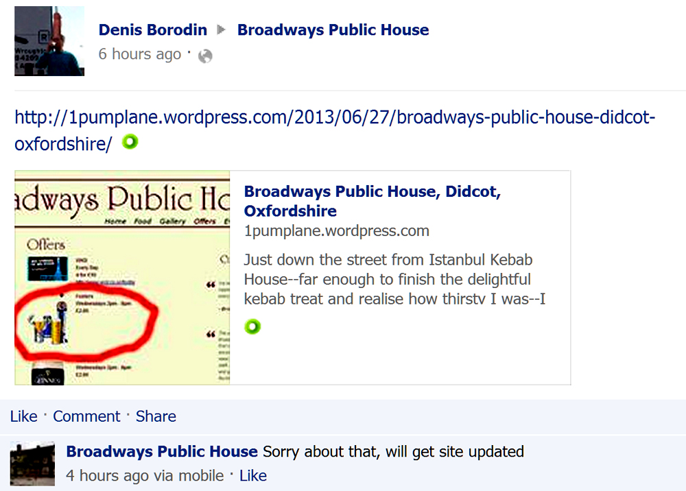 broadways facebook response