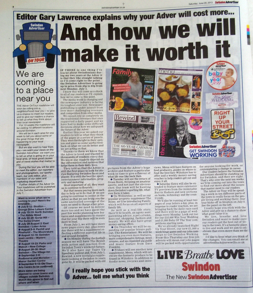 swindon advertiser 44percent price rise