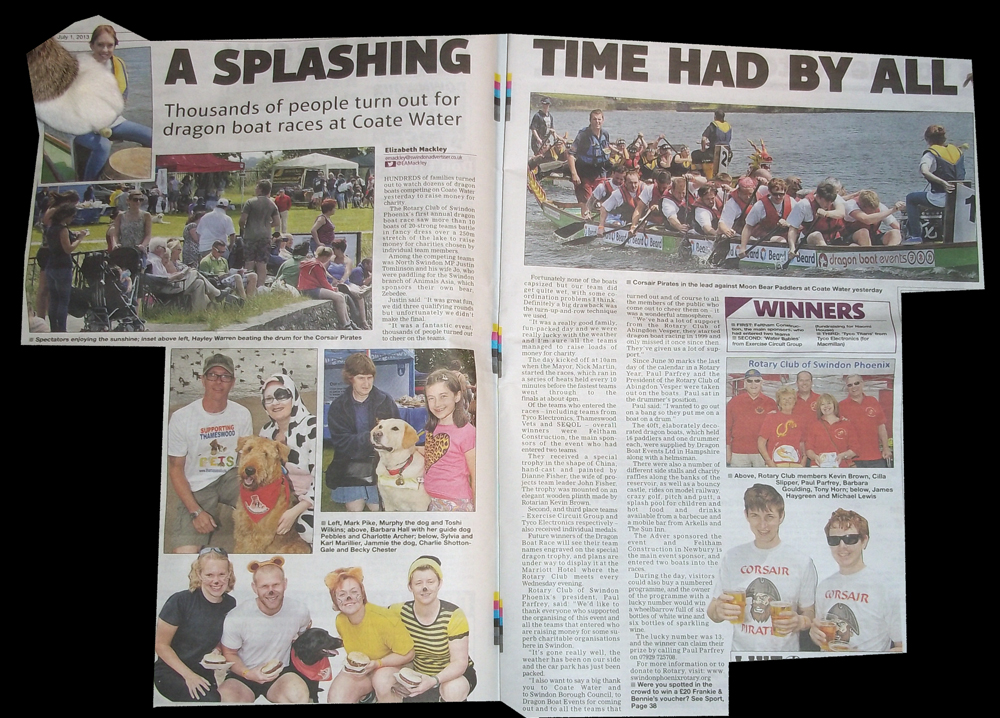 2013-07-01 two page spread on dragon boat race