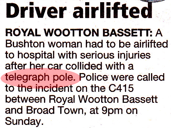 telegraph pole collision