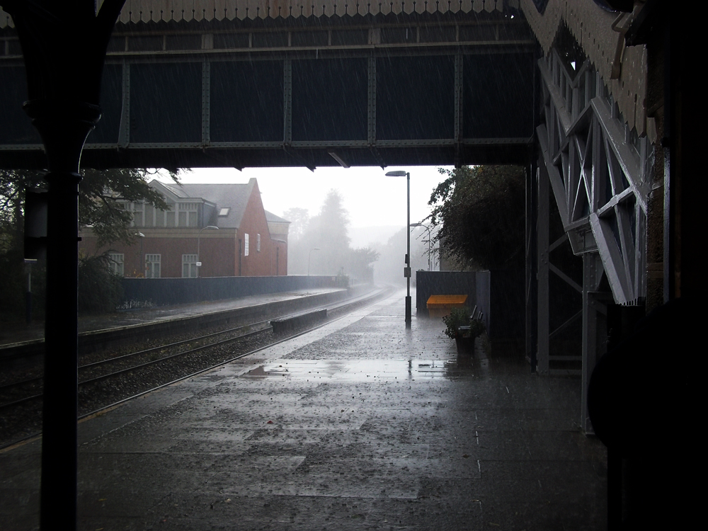 stroud station homeward bound in the storm