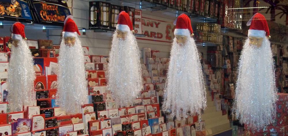 shrunken santa heads