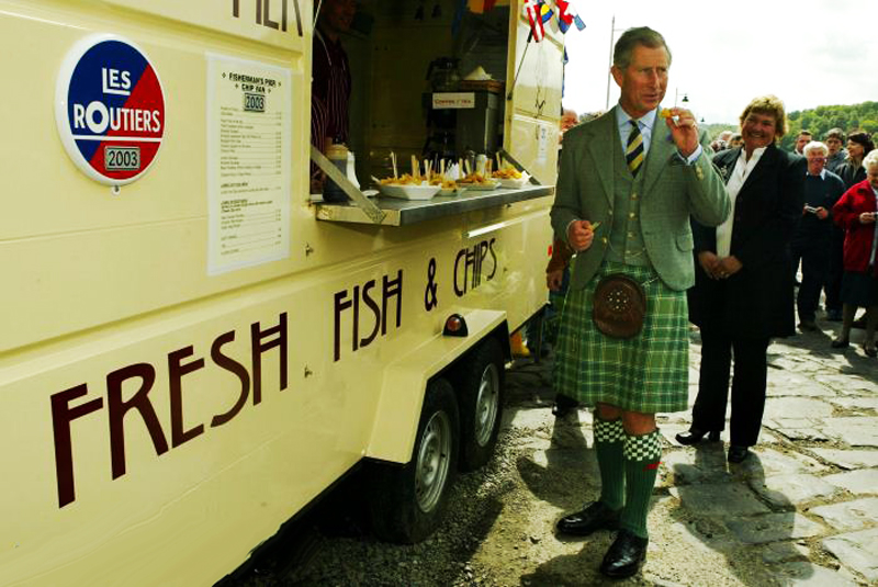 Prince Charles at a chip van