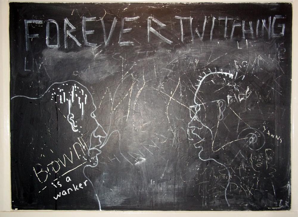 White Rabbit chalkboard in the loo