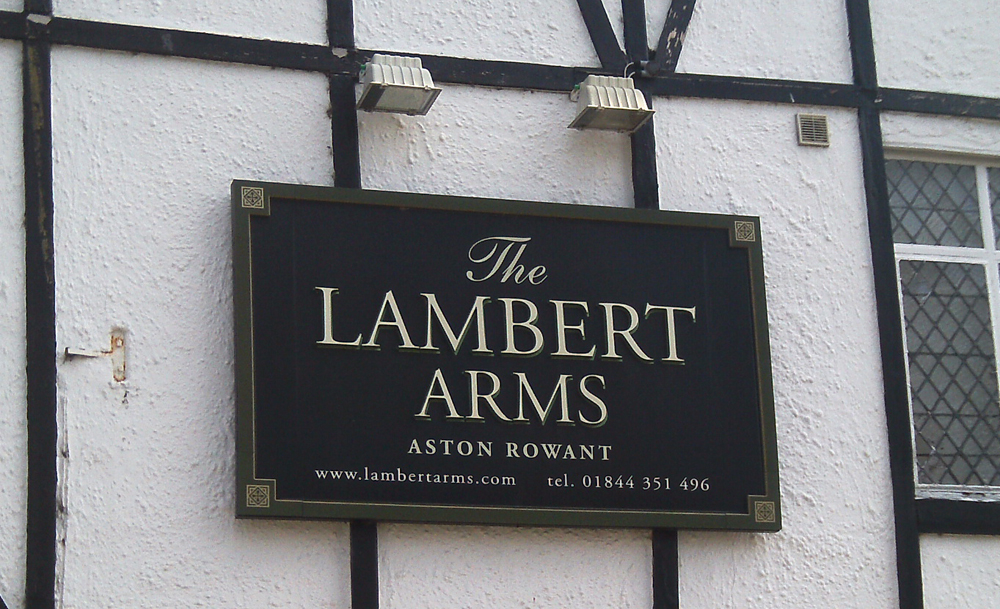 Lambert Arms Aston Rowant sign
