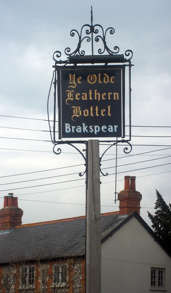 ye olde leathern bottel lewknor sign