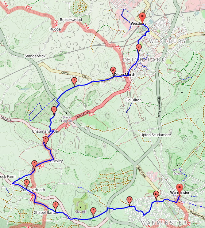 Map Westbury to Warminster