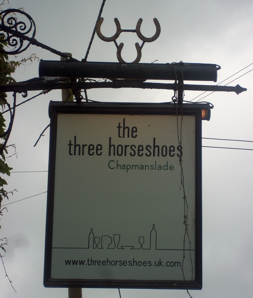 The Three Horseshoes Chapmanslade sign