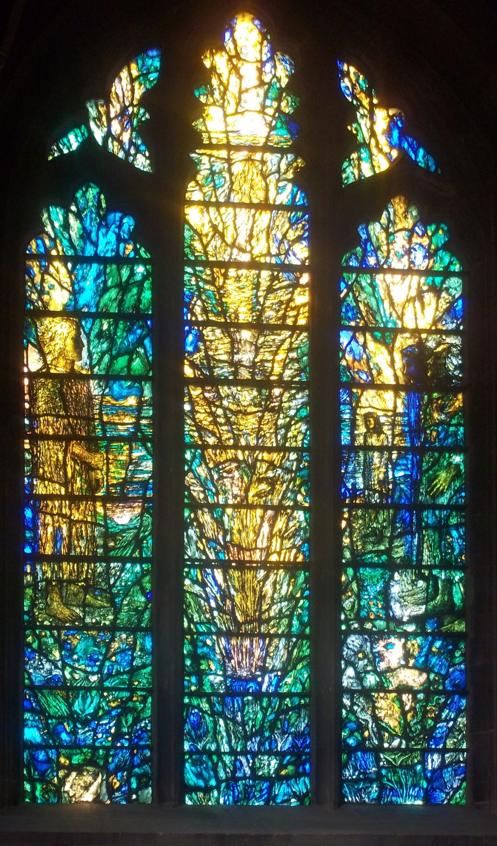 Tewkesbury Abbey detail modern windows left