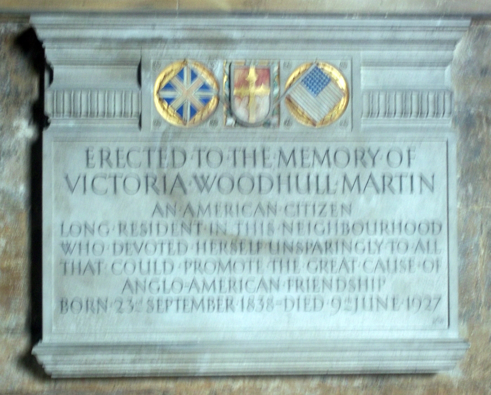 Tewkesbury Abbey Victoria Woodhull monument