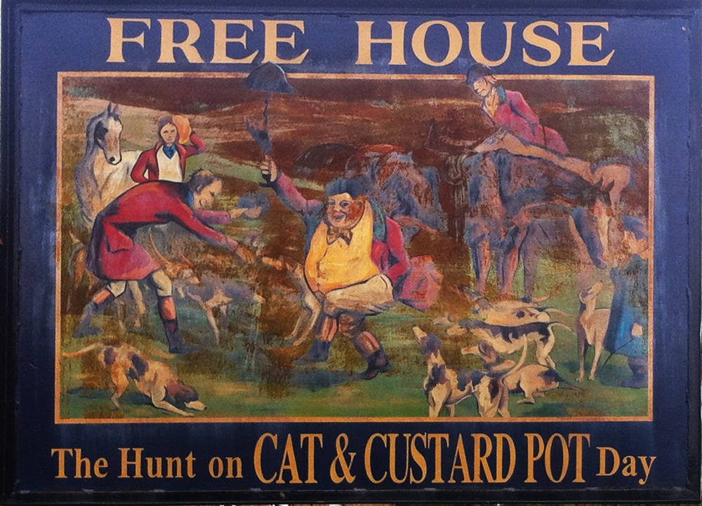 Cat and Custard Pot Shipton Moyne sign southside