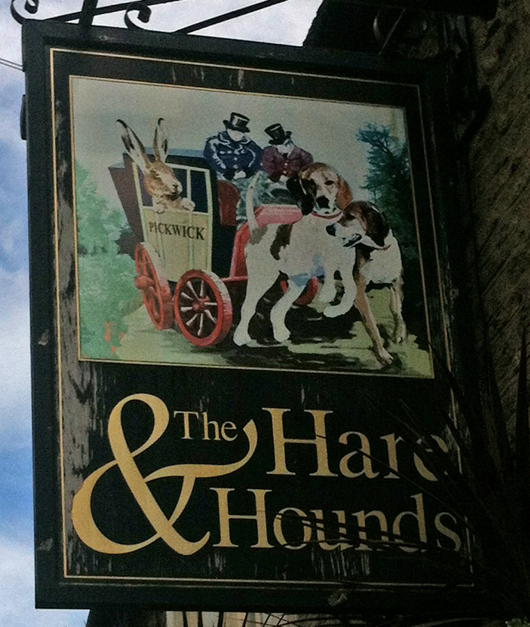 Hare and Hounds Corsham sign