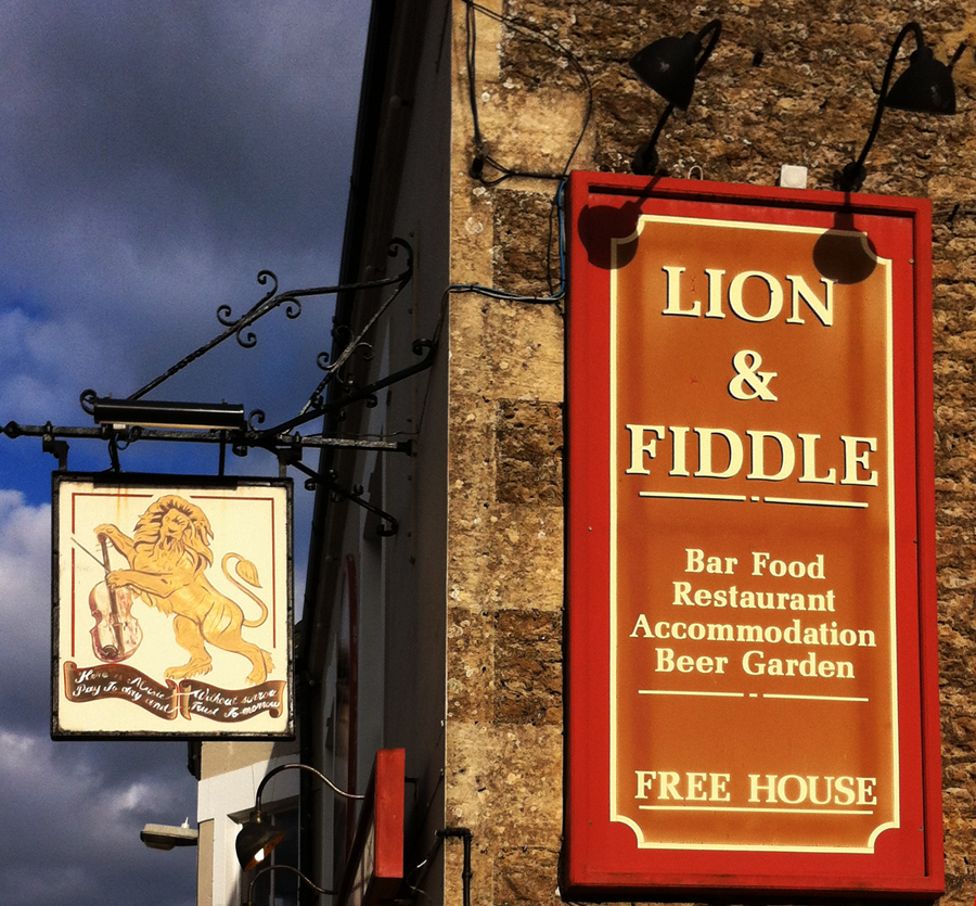 Lion and Fiddle Hilperton signs