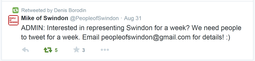 Yeah, we want people from Swindon to talk up the town...just not YOU.