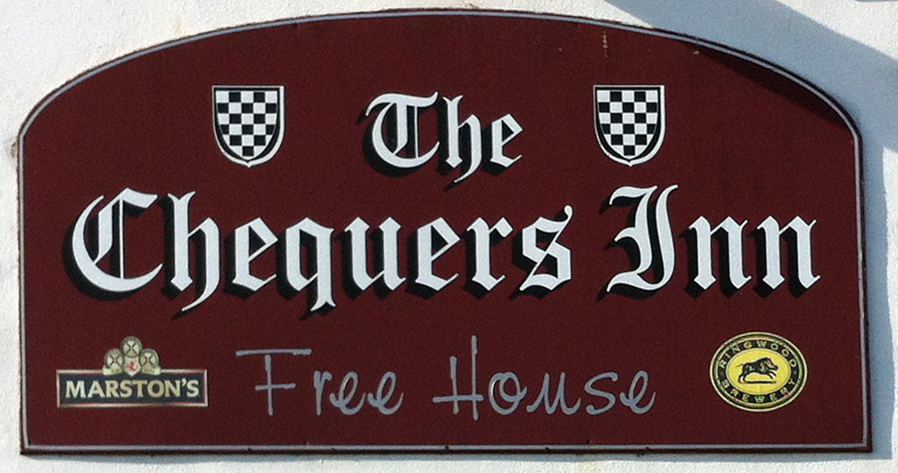 Chequers Inn Godshill IOW sign