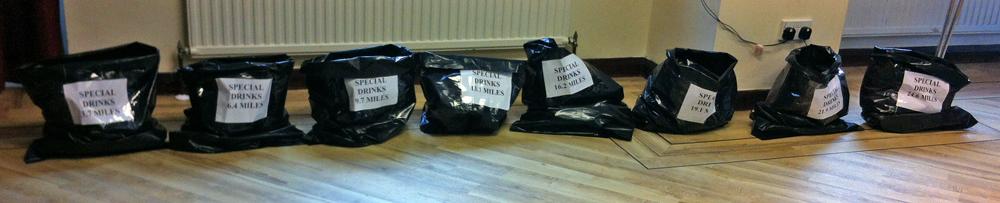IOW marathon special drinks bags