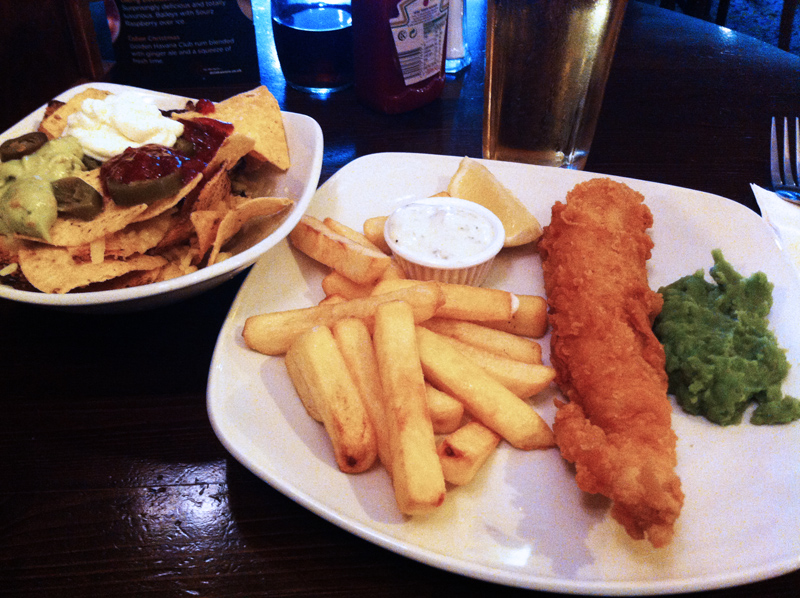 Bell and Compass fish chips mushy peas and nachos