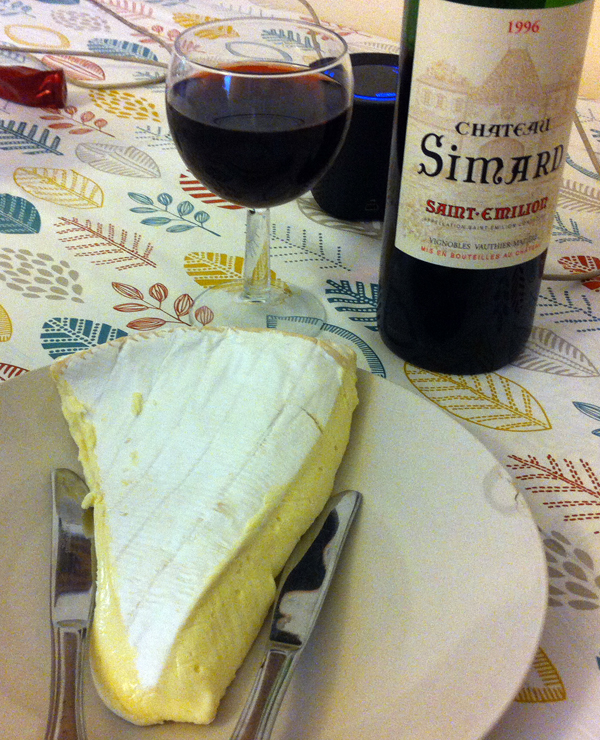 chateau simard 1996 and runny brie