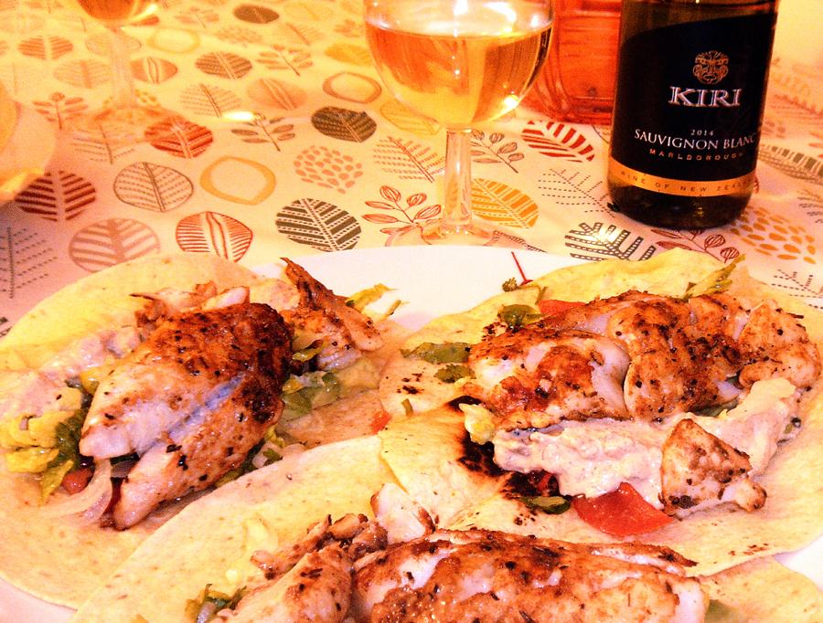 Kiri Sauvignon Blanc and haddock tacos